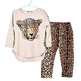 Neugeboren Leopard Kinder Outfits MäDchen Tanzkleid Leopard Langarm Latein-Outfits Kleinkind Ballroom KostüMe Leopardenhose Tierwelt Leopard Drucken Baby Strampler Babykleidung Set