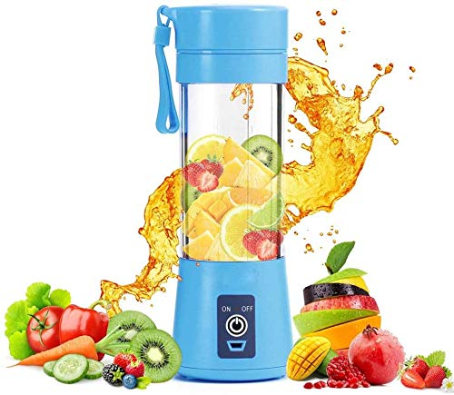 QIYUE Portable Blender, 400ML Personal Juicer, Fruit Smoothie Shake Sap Blender, met USB opladen, geschikt for familie reizen, Blue