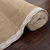AK Trading 40' Wide Natural Burlap Wedding Aisle Runner with Ivory Lace - 40' Wide x 15 feet Long
