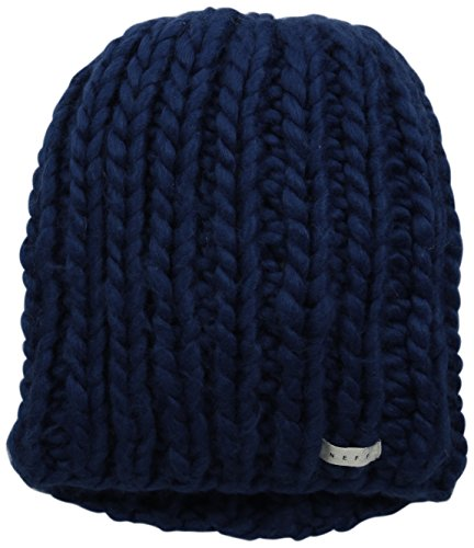 NEFF Women's Cara Textured Beanie with Oversized Yarn, Navy, One Size