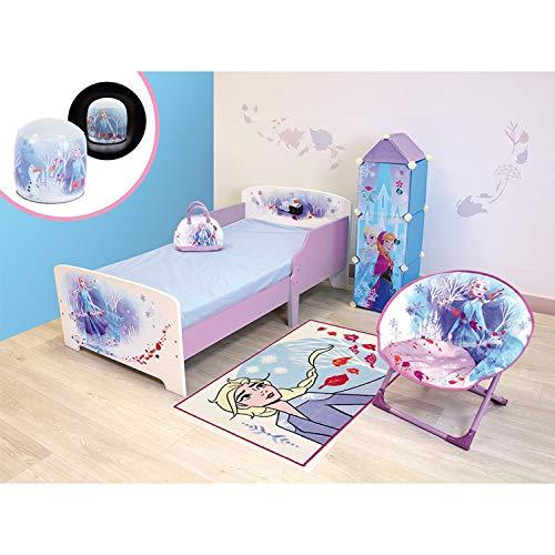6 in 1 Kinderzimmer Eiskönigin 2 Disney = Bett + Bowling-Tasche + Mondsitz + aufblasbare Lampe + Teppich + Regal mit 3 Fächern