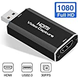 Microware USB 2.0 Audio Video Capture Card HDMI to USB 2.0, Broadcast Live, Record via DSLR, Camcorder, or Action Camera, 1080p, Compact HDMI Capture Device hd camcorders Nov, 2020
