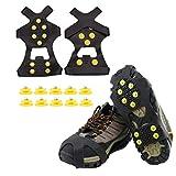 QeeHeng Crampones de goma antideslizantes , cubrezapatos de goma antideslizante Adecuado para hielo y nieve, crampones fáciles de estirar y antideslizantes, tamaño: S / M / L / XL / XXL