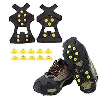 QeeHeng Crampons antidérapants, Couvre-Chaussures en Caoutchouc antidérapants, Chaussures antidérapantes pour la Neige et la Glace pour Hommes et Femmes, Taille L