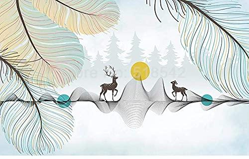 Lebensaccessoires Benutzerdefinierte 3D-Wandtapete Moderne Wandkunst Handgemalte Feder Sonnenaufgang Elch Wohnzimmer Schlafzimmer Wanddekoration Foto Tapete 250x175 cm (98,4 x 68,9 in)