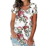 Camiseta de manga corta con estampado floral para mujer Top de camiseta con dobladillo Blusa de manga corta con estampado floral y blusa larga Top con estampado floral de tiras Blusas y camisas túnica