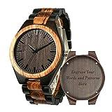 Holzuhren für Männer, Shifenmei Holzuhren natürliche handgemachte Analog Quarz japanische Uhrwerk und Batterie verstellbar Holz Armband leichte Holzuhren mit Exquisite Box (A-Customize3)