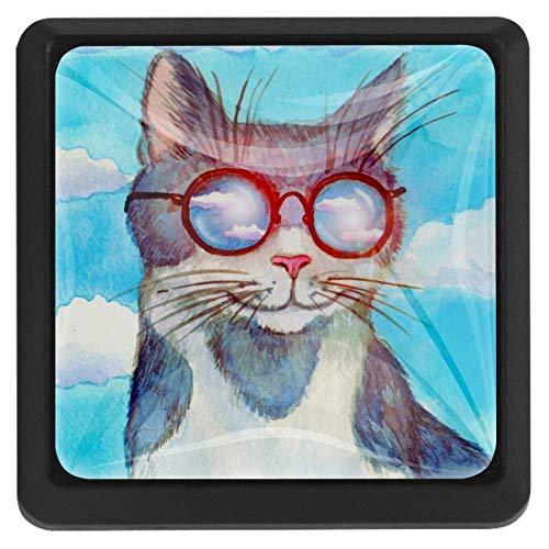 TIKISMILE aquarel kat met bril op de hemel kristal glas vierkante lade knoppen en trekknoppen handgrepen voor keuken meubilair deur lade kast kast kast kast kast kast badkamer