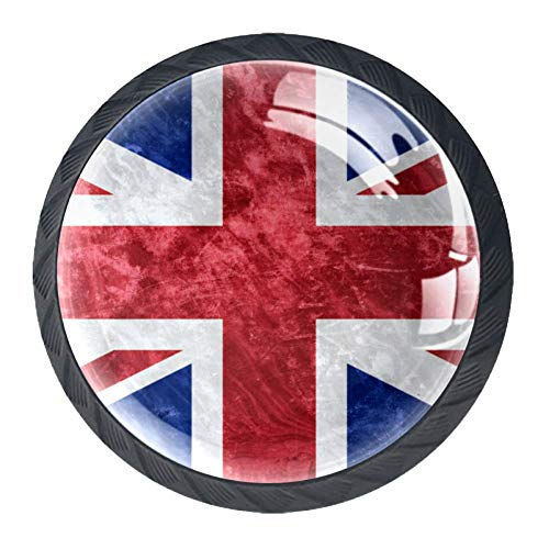 Cabinet Door Knobs Cupboard Wardrobe Desk Drawer Handles Pulls 4 pcs UK Grunge Flag