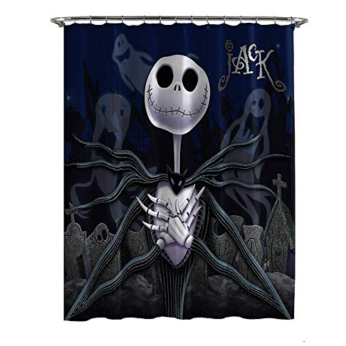 ZLWSSA Cortina De Ducha Impermeable 3D Franco Nightmare Before Christmas Moonlight Madness 180x240cm