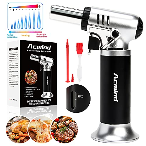 Acmind Butane Torch with Fuel Gauge&One-Handed Operation&Safety Lock&Adjustable Flame, Kitchen Refillable Butane Blow Torch, Blow Torch Lighter for Cooking, Brulee BBQ Baking(Butane Gas Not Included)