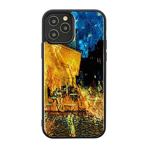 ikins iPhone 12 ケース 12 Pro ケース 絵画 天然貝 Pearl Qi充電 ワイヤレス充電 アイフォン 12 プロ カバー ゴッホ 名画シリーズ 夜のカフェテラス I19285i12P【日本正規代理店品】