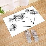 Floral Löwenzahn Sommergarten Kunstdruck große Fußmatte, schwarz weiß, Fußmatte, perfekte Farbe, Größe für den Außenbereich, Innenbereich, Baumwolle Eintrag Teppich Schuh Schaber waschbar Teppich