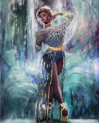Diy Olieverfschilderij Schilderen Op Nummer Kit Voor Kinderen Volwassenen Beginner Tekenen Met Borstels Decoraties Geschenken, Gouden Dansschoenen Ballerina Meisje, Hyu, 2686,16x20inch
