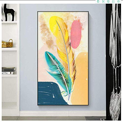 YaShengZhuangShi Canvas wall art no frame 50x100cm(19.7x39.4in) Nordic Feather Porch Abstract Set Wall Pictures For Living Room Decorative Picture Art Posters And Prints