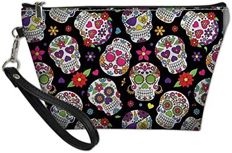PZZ BEACH Sugar Floral Skull Cosmetic Bag Travel Makeup Pouch Travel Storage Case Small Coin product image