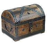 Piraten-Schatztruhe von Thunderdog - Holztruhe braun - Handarbeit Vintage mit Schloss 28x20x20cm...