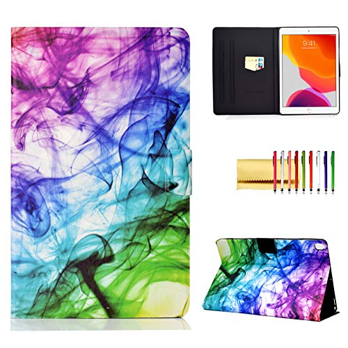 Folio Case for iPad 7th Gen 10.2' 2019, Techcircle Slim Folding Stand Magnetic Flip Smart Cover Soft TPU Back PU Leather Protective Case for iPad 10.2-Inch 2019, Auto Sleep/Wake, Colored Mist