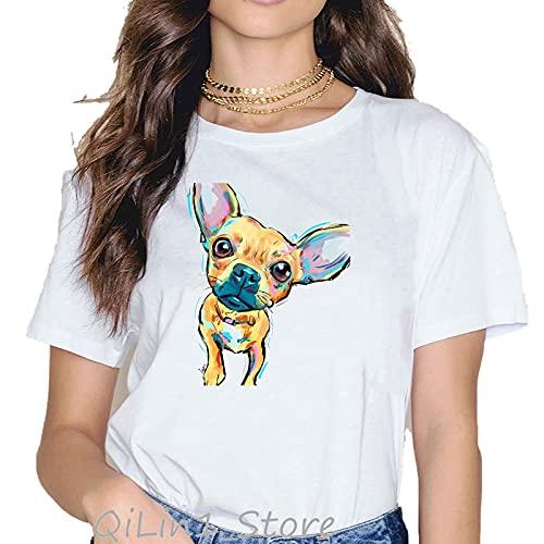 shirts Divertido t Las Mujeres Vogue Chihuahua comer helado Animal Impreso t Camiseta Mujer Kawaii Ropa Blanca Camiseta Femme Tops