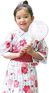浴衣 子供 セット キッズ ベビー ドレス サンドレス セパレート 花柄 帯セット Pinky Flash 桜赤 100cm 3357090607PI100