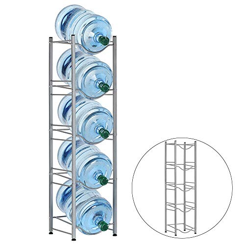 LIANTRAL Jug Holder 5 Gallon Water Bottle Storage Rack, 5-Tier, Silver