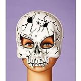 Forum Novelties Men's Cracked Skull Mask, White/Black, One Size