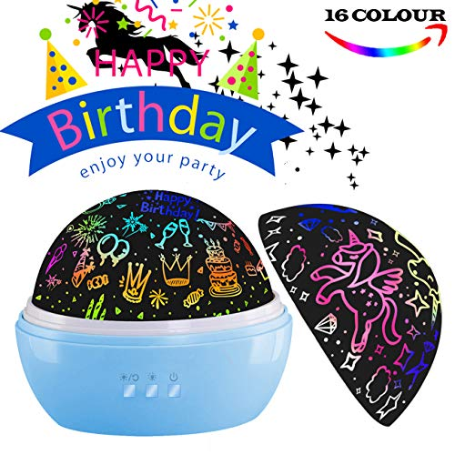 nachtlampje projector,Verjaardagscadeaus voor jongens, nachtlampje voor peuters. Eenhoorn slaapkamerlamp voor kinderkamer, 16 standen licht en rotatie (verjaardag eenhoorn-blauw)