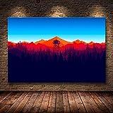 sanzangtang Videojuego Mountain Minimalist Forest Canvas Wall Art-Pintura sin marco60X90cm