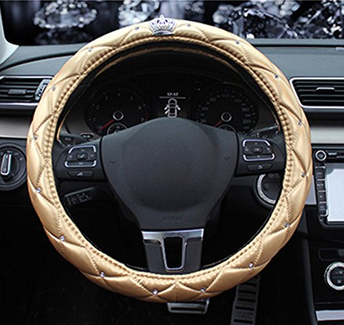 BAIMIL Car Steering Wheel Cover Universal Cystal Crown PU Leather DAD Diamond Steering Wheel Cover 15 inch Gold