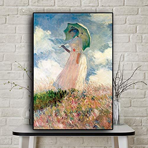 wZUN Pintura al óleo Abstracta de Dama con sombrilla, Carteles Pintados e Impresiones sobre Lienzo, Mural de salón 60x90 Sin Marco
