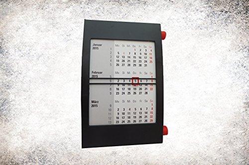 Toner & Tinten Fuchs 3-Monats-Kalender, für 2 Jahre (2016+2017), mit Drehmechanik, schwarz/rot