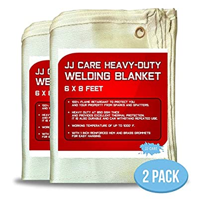 JJ Care Welding Blanket (Pack of 2) Premium (6x8 ft) Heavy Duty (850 GSM Thick) Fiberglass, Fire Retardant, Welding Curtain Cover, Welding Shield, Fire Blanket, Fireproof, Thermal Resistant Insulation