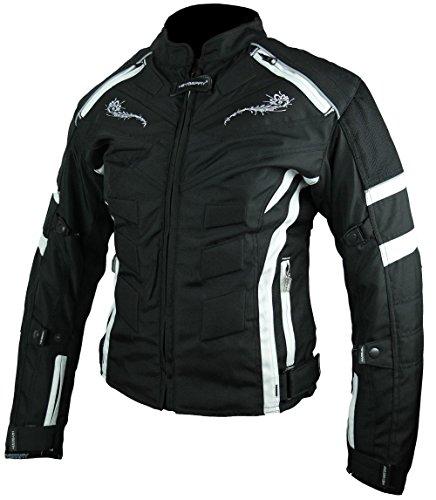 Heyberry Damen Motorrad Jacke Motorradjacke Textil Schwarz Weiß Gr. XL / 42 - 3