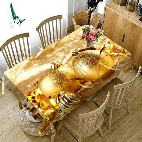 Gypsophila Mantel rectangular impreso – Mantel 3D de Navidad de oro redondo, tela de bola gruesa rectangular y redonda para mesita de noche, armario de boda, poliéster, A, 70 x 106 inch