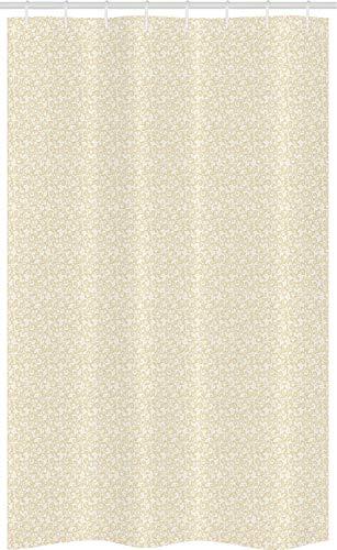 ABAKUHAUS naturfarben Schmaler Duschvorhang, Simplistic Romantische Blumen, Badezimmer Deko Set aus Stoff mit Haken, 120 x 180 cm, beige Weiß