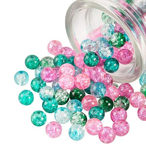 PandaHall - Cuentas redondas de 5 colores, 8 mm, hechas a mano, cuentas de cristal agrietado, para hacer pulseras, collares, pendientes, joyas, 200 unidades