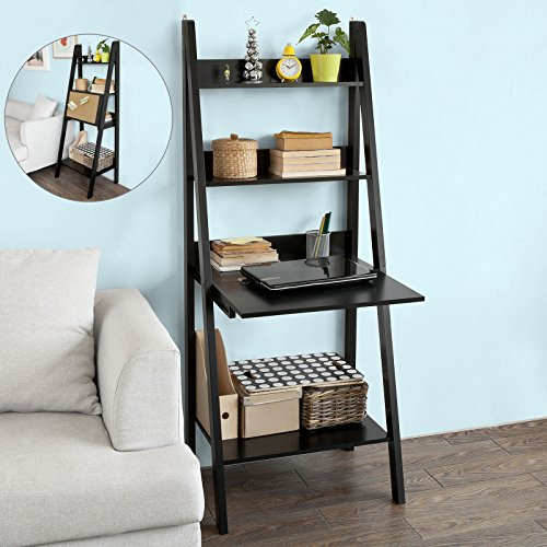 Haotian Modern Ladder Bookcase Made of Wood, Book Shelf,Stand Shelf, Wall Shelf (FRG115-SCH)