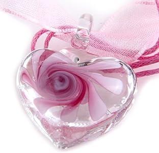 skyllc® Collar de Murano Flor Murano Exquisita Rosa del corazón del Grano de Cristal de 25 mm para la Mujer