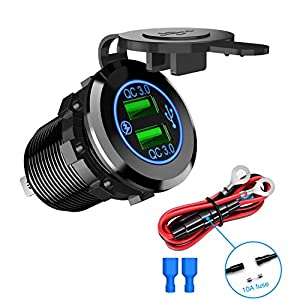Nilight - 90103A Dual USB Port QC 3.0 Fast Charging Hubs USB Charger Socket Power Outlet 2.1A & 2.1A x2 for Car Boat Marine RV Mobile with Wire Fuse DIY Kit with Lightly Blue LED, 2 years Warranty