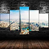 CDSWER 5 Piezas Cuadro Lienzos Decorativos Cuadros Decoracion Salon Modernos Grandes Dormitorios XXL Impresión Pintura Arte,Ciudad De Dubai Burj Khalifa(Marco,39X22Inch)