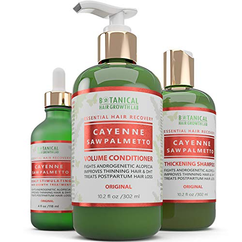 BOTANICAL HAIR GROWTH LAB - Scalp Treatment, Shampoo and Conditioner Gift Set - Cayenne Saw Palmetto - Essential Hair Recovery - Scalp Detoxifying/Original - For Hair Thinning Alopecia Postpartum DHT