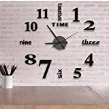 16 Inch DIY Wall Clock, 3D Frameless Wall Clocks Mirror Sticker Silent Non Ticking, Assemble Black Round Clock Kit for Living Room Bedroom Office Home and Kitchen Decor