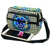 Bolso de gran capacidad bordado de estilo étnico para teléfono celular, cartera para el cuerpo, bolso de mano con tres capas con cremallera, bolso de mano con borlas, bolso de hombro