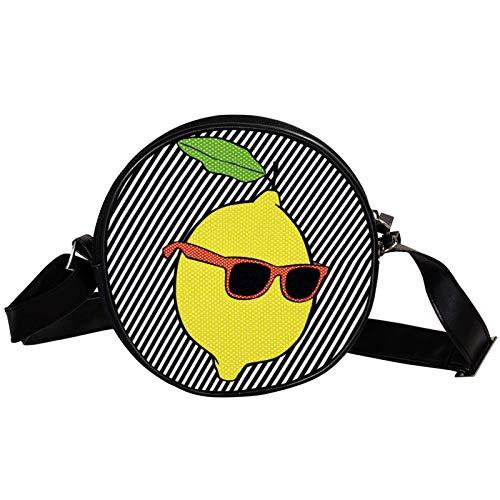 Bolso cruzado redondo pequeño bolso de las señoras de la manera bolsos de hombro bolso mensajero bolsa de lona bolsa de cintura accesorios para las mujeres - Pop Lemon con líneas de gafas de sol