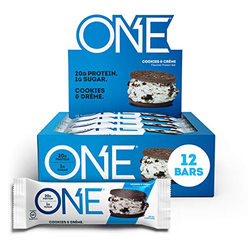 ONE Protein Bars, Cookies & Crème, Gluten Free Protein Bars with 20g Protein and only 1g Sugar, Guilt-Free Snacking for High Protein Diets, 2.12 oz (12 Pack)