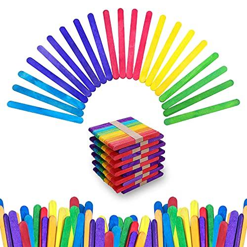 Palitos de Paleta de Madera de 300 Piezas, Palitos de Madera para Helados y Manualidades, Extremos Redondeados, 6 Colores