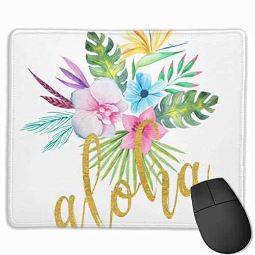 Hawaiianisches Mauspad mit Buntem Blumenstrauß mit goldenem Aloha-Pinsel, Schreibschrift, Gaming-Mauspad, rutschfestes Gummi-Mauspad, rechteckiges Mauspad für Schreibtisch, Laptop, Büro, Arbeit