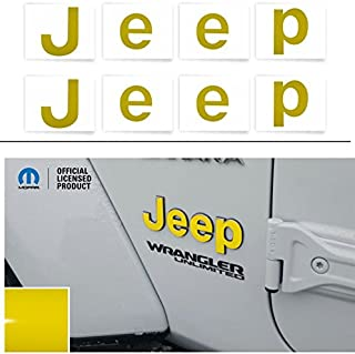 Reflective Concepts JEEP Fender Emblem Overlay Decal Stickers - 2018 2019 2020 Wrangler JL - (Color: Bright Yellow)