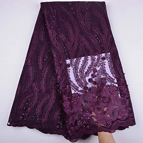 Tela de encaje africano de 3 yardas de tela de encaje con cuentas francesas nigerianas de tela bordada para vestido de fiesta de boda con cordón Guipure K8 (ciruela)