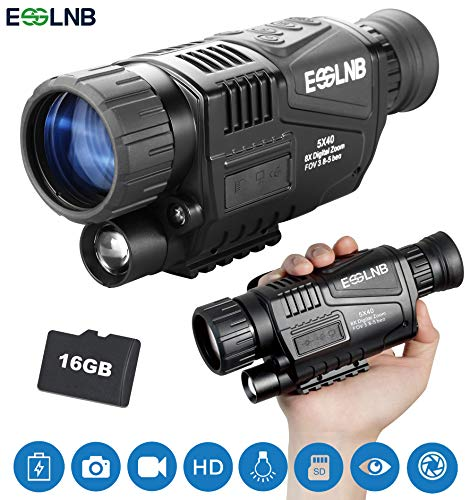 ESSLNB Night Vision Monocular 5X40 HD Night Vision Infrared Monocular with 1.5' TFT LCD Take Photos...